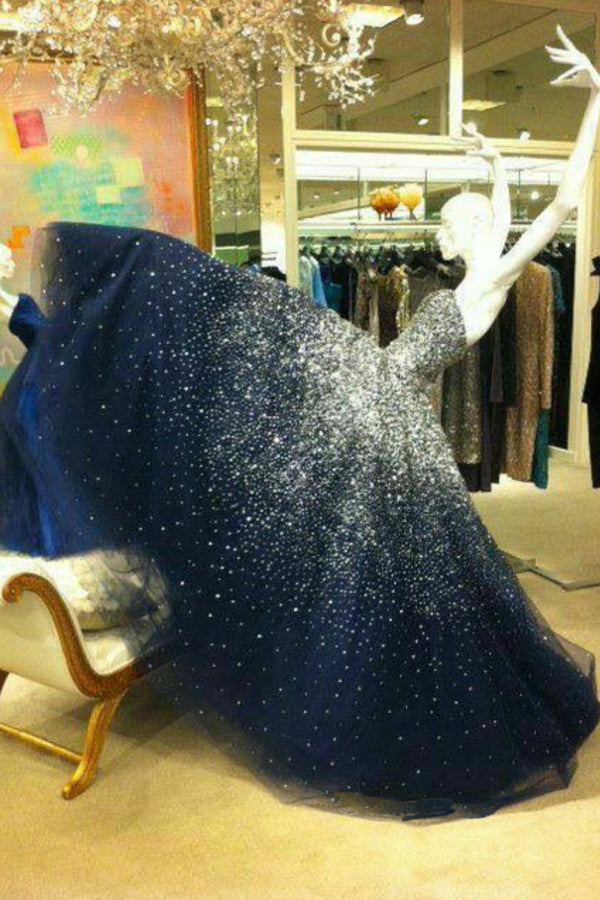 Navy Blue Floor Length A Line Sweetheart Sleeveless Sparkle Long Prom Dress,Party Dress