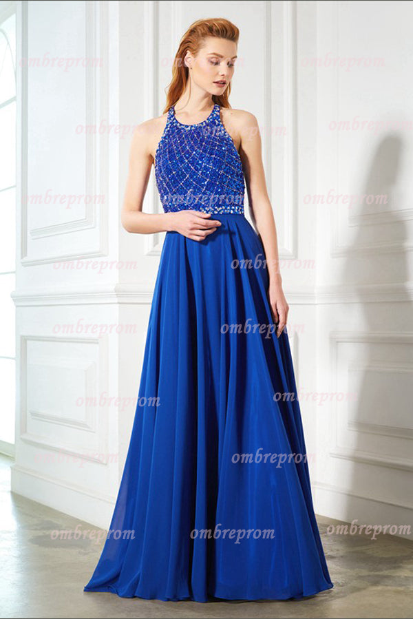 Blue A Line Sweep Train Halter Sleeveless Keyhole Back Beading Prom Dress,Formal Dress P303 - Ombreprom