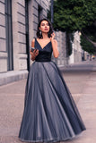 Navy Blue A Line Floor Length Deep V Neck Sleeveless Layers Prom Dress,Party Dress