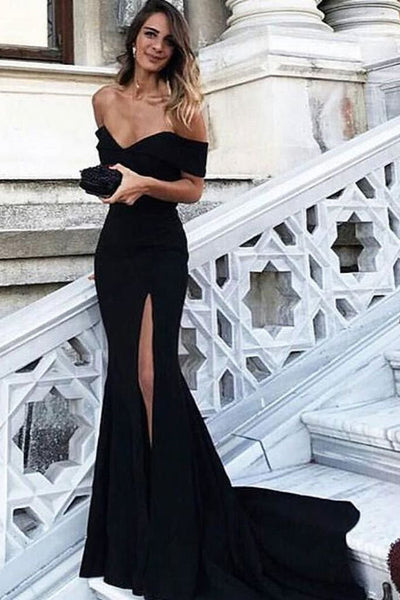 Black Sheath Court Train Off Shoulder Sleeveless Side Slit Prom Dress,Party Dress P128 - Ombreprom