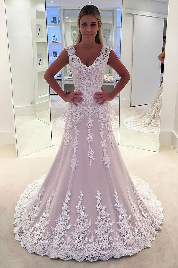 Blush Sheath Court Train Sleeveless Appliques Wedding Dress,Perfect Wedding Dress W271 - Ombreprom