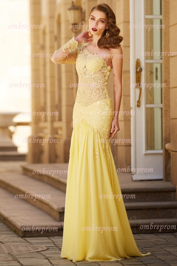 Daffodil A Line Brush Train One Shoulder Long Sleeve Applique Chiffon Prom Dress,Party Dress P374 - Ombreprom