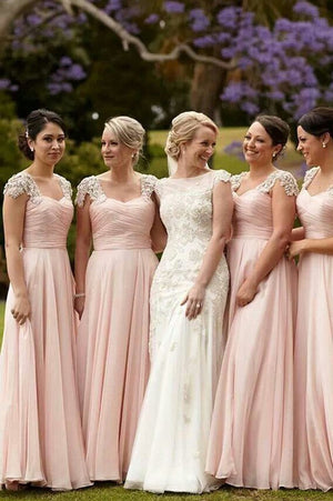 Pink A Line Floor Length Curve Neck Capped Sleeve Appliques Scoop Cheap Bridesmaid Dress B255 - Ombreprom