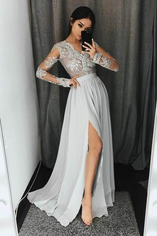 Gray A Line Floor Length V Neck Long Sleeves Appliques Chiffon Prom Dress,Party Dress