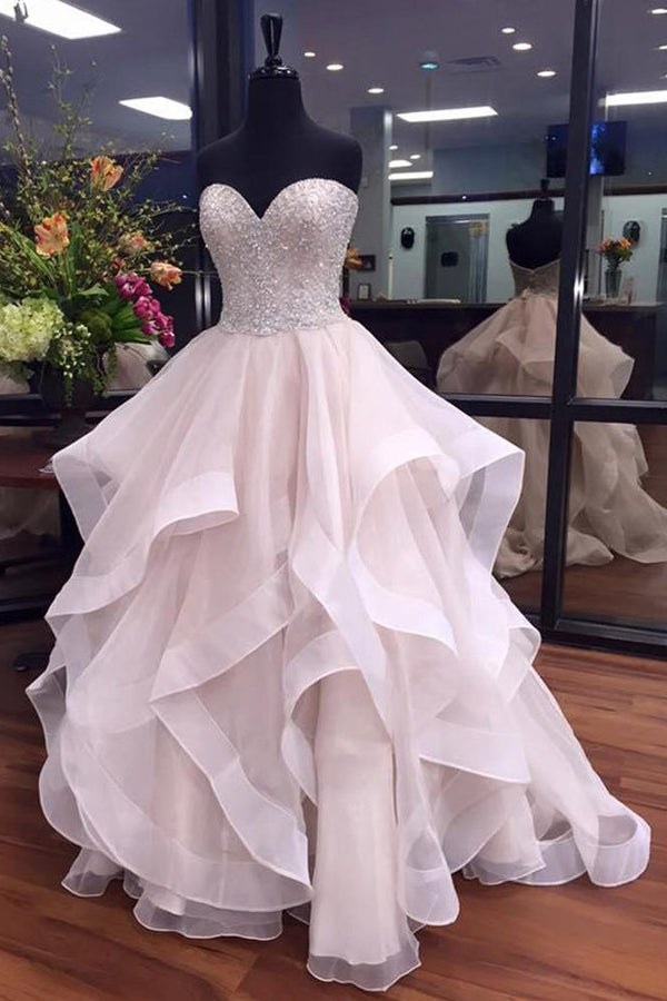 Ball Gown Court Train Sweetheart Strapless Sleeveless Layers Beading Prom Dress,Party Dress P399 - Ombreprom
