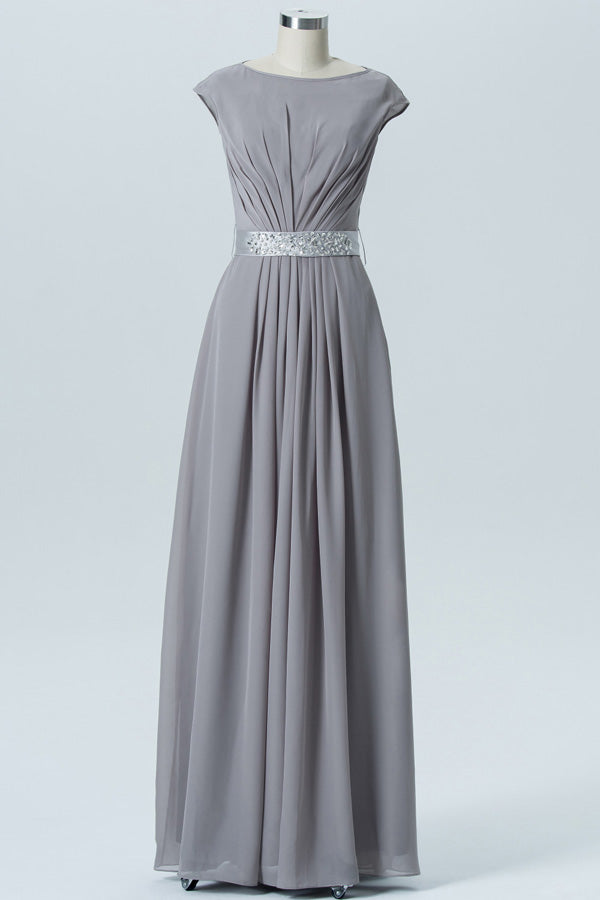 Steel Grey A Line Floor Length Jewel Neck Capped Sleeve Bowknot Cheap Bridesmaid Dresses