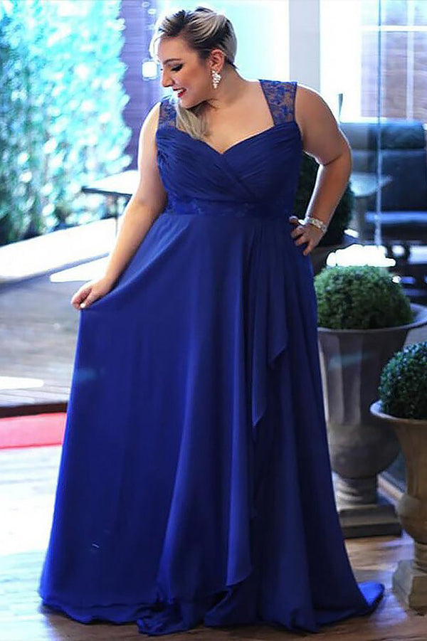 Blue A Line Brush Train Sweetheart Sleeveless Zipper Back Plus Size Prom Dresses S11 - Ombreprom