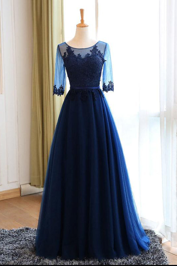 Navy Blue A Line Floor Length Half Sleeve Keyhole Back Appliques Long Prom Dress,Party Dress