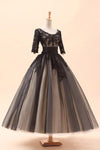 Black Ball Gown Ankle Length Scoop Neck Half Sleeve Appliques Lace Up Prom Dress,Evening Dress P95 - Ombreprom