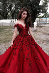Red A Line Floor Length Off Shoulder Appliques Floral Long Prom Dress,Party Dress