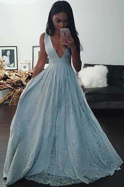 Blue A Line Floor Length Deep V Neck Sleeveless Beading Prom Dress,Formal Dress P302 - Ombreprom