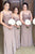 Sheath Floor Length Sheer Neck Sleeveless Appliques Split Cheap Bridesmaid Dress B256 - Ombreprom