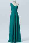 Peacock Green A Line Floor Length One Shoulder Open Back Cheap Bridesmaid Dresses