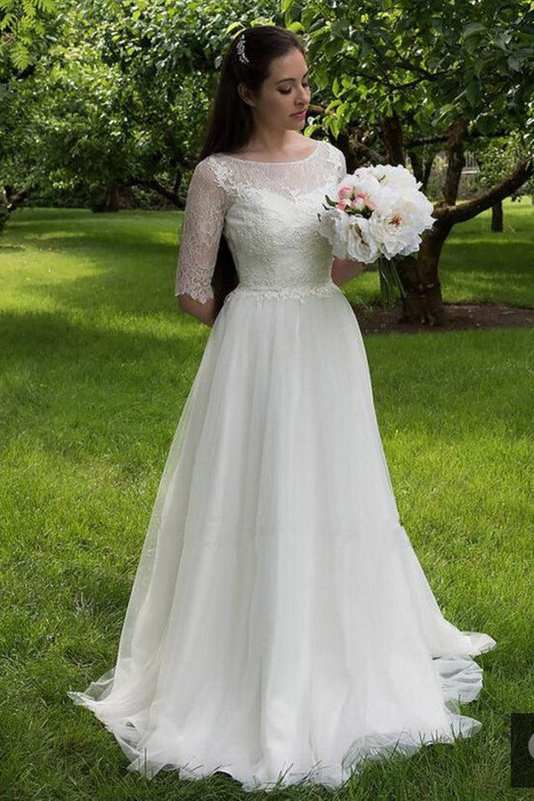 White A Line Brush Train Half Sleeve Lace Wedding Dress,Beach Wedding Dress