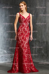 Burgundy Trumpet Sweep Train Sweetheart Deep V Back Lace Prom Dress,Party Dress P327 - Ombreprom