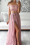 Pink Two Piece A Line Floor Length Off Shoulder Side Slit Lace Long Prom Dress,Party Dress