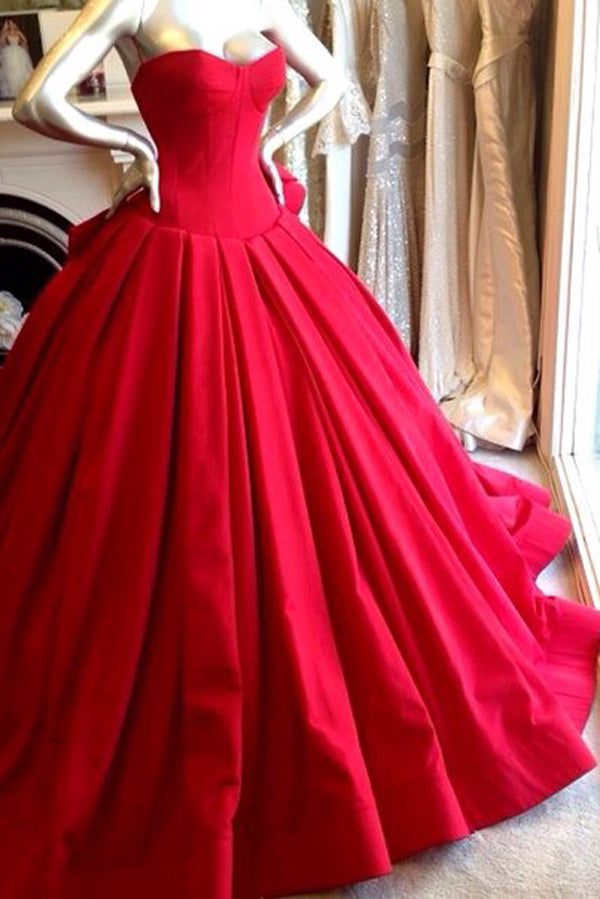 Red Ball Gown Sweep Train Sweetheart Sleeveless Mid Back Long Prom Dress,Party Dress