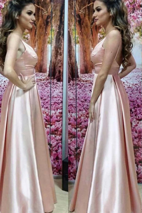 Pink A Line Floor Length Scoop Neck Sleeveless Low Back Long Prom Dress,Party Dress P232 - Ombreprom