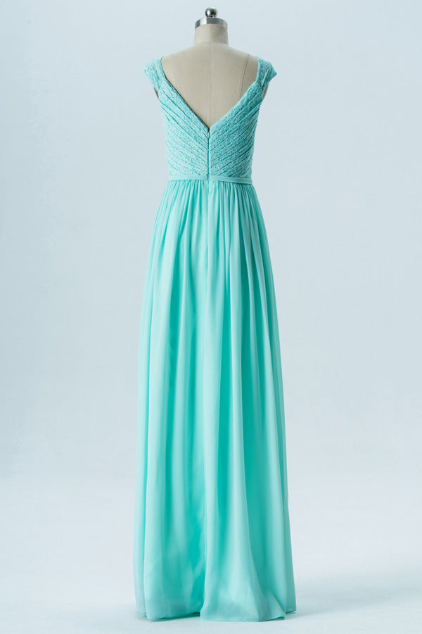 Hint of Mint A Line Floor Length Sweetheart Capped Sleeve V Back Cheap Bridesmaid Dresses B143