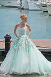 Mint Green Ball Gown Court Train Sleeveless Appliques Beading Long Prom Dress,Party Dress