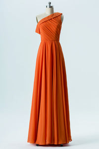 Mandarin Orange A Line Floor Length One Shoulder Sleeveless Chiffon Cheap Bridesmaid Dresses