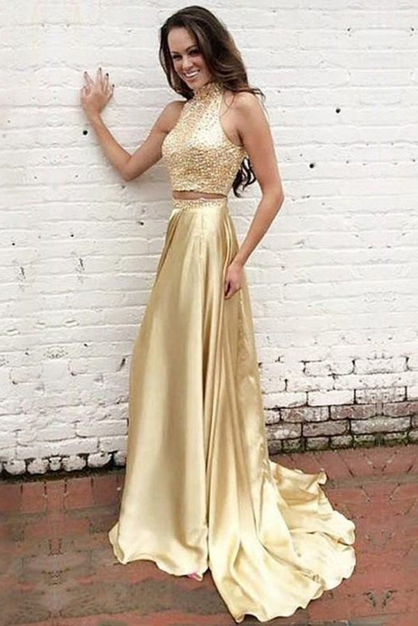 Golden Two Piece A Line Sweep Train Sleeveless Keyhole Back  Beading Prom Dress,Party Dress