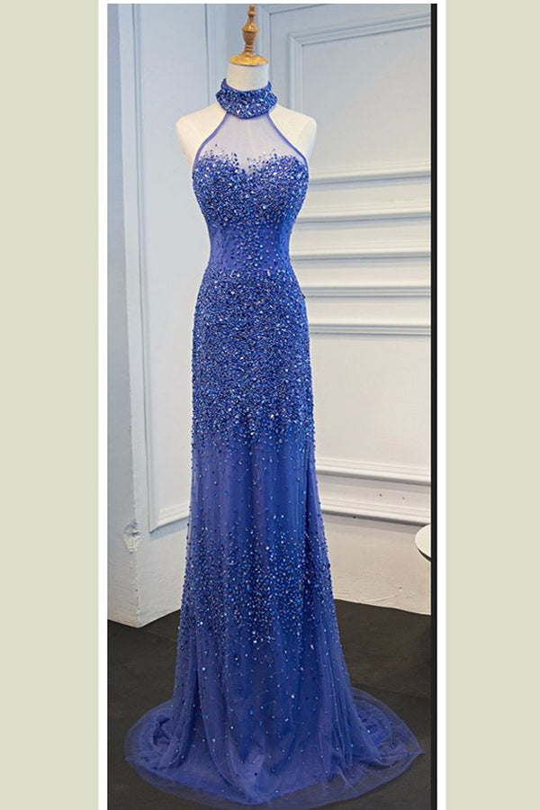 Royal Blue Sheath Sweep Train Halter Sleeveless Sheer Back Beading Prom Dress,Formal Dress