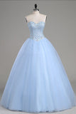 Light Blue Ball Gown Floor Length Sweetheart Strapless Sleevless Beading Prom Dress,Party Dress