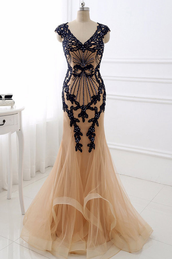 Sheath Brush Train Capped Sleeve Zipper Back Appliques Tulle Prom Dress,Party Dress