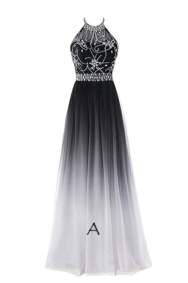 Ombre A Line Brush Train Halter Sleeveless Beading Chiffon Lace Up Prom Dress,Formal Dress