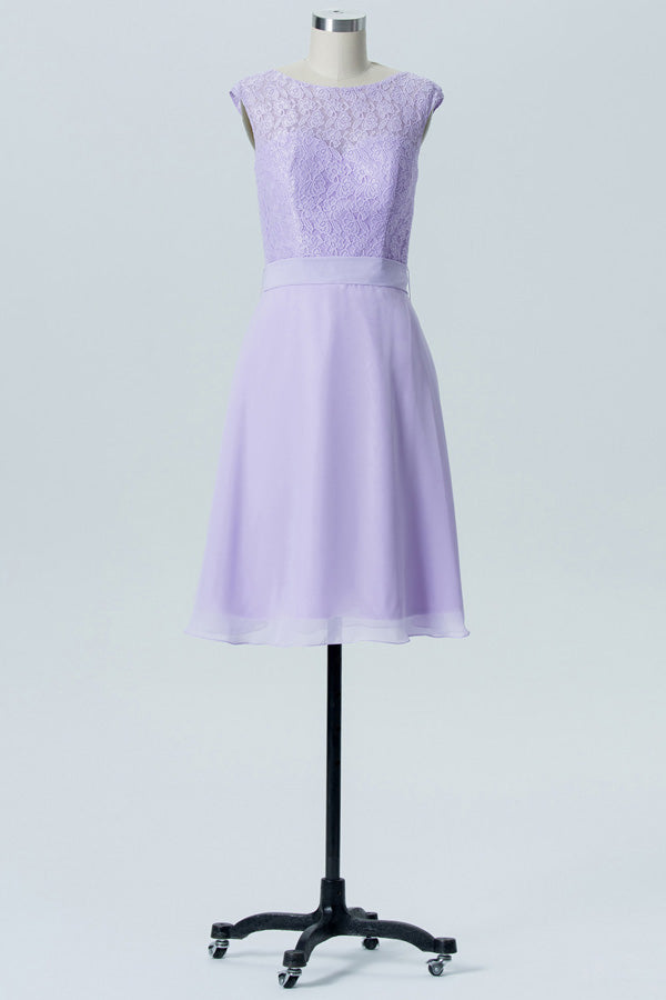 Pastel Lilac A Line Knee Length Sheer Neck Capped Sleeve Bowknot Cheap Bridesmaid Dresses
