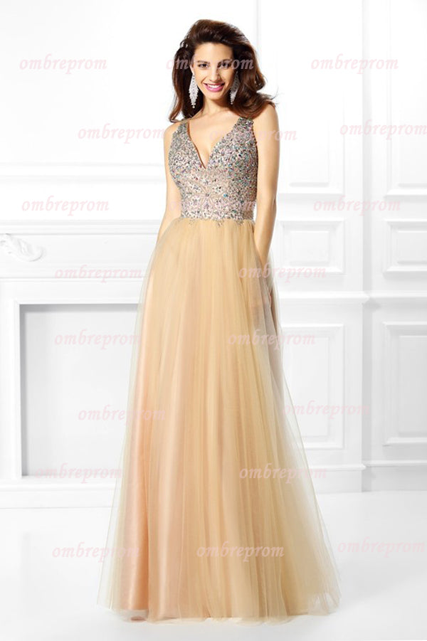 A Line Floor Length Deep V Neck Sleeveless Layers Tulle Beading Prom Dress,Party Dress P366 - Ombreprom