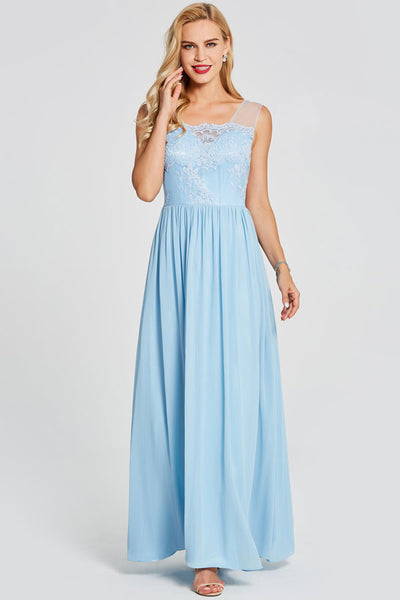 Blue A Line Floor Length Sleeveless Backless Lace Prom Dress,Party Dress
