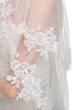 Elegant Two-tier Elbow Veils Lace With Applique Wedding Veil V01
