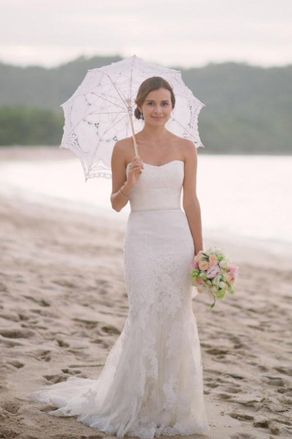 White Sheath Court Train Sweetheart Sleeveless Layers Lace Wedding Dress,Wedding Gowns