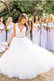 A Line Floor Length Deep V Neck Sleeveless Cheap Wedding Gown Beach Wedding Dress W151 - Ombreprom