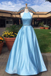 Blue A Line Floor Length Halter Sleeveless Beading Belt  Prom Dress,Party Dress P494 - Ombreprom