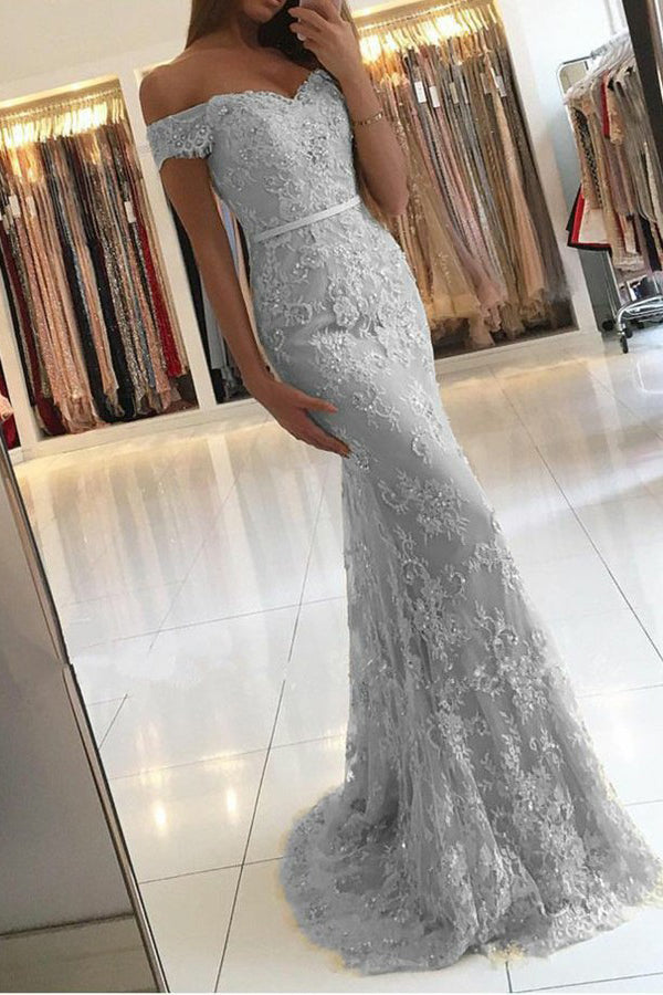 Gray Sheath Brush Train Off Shoulder Mid Back Lace Beading Prom Dress,Party Dress