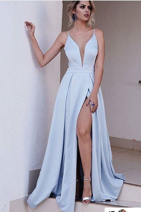Blue A Line Brush Train Deep V Neck Sleeveless Side Slit Prom Dress,Party Dress P403 - Ombreprom
