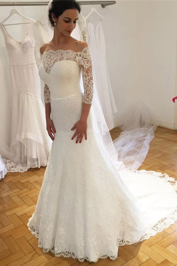 White Trumpet Court Train 3/4 Sleeve Off Shoulder Lace Wedding Dress,Cheap Wedding Dress