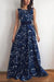 Blue A Line Brush Train Sleeveless Deep V Neck Prom Dress,Party Dress P448