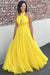 Yellow A Line Floor Length Halter Sleeveless Backless Bridesmaid Dress, Wedding Party Dress B330