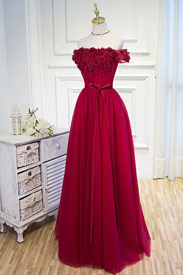 Red A Line Floor Length Off Shoulder Lace Up Appliques Cheap Bridesmaid Dress
