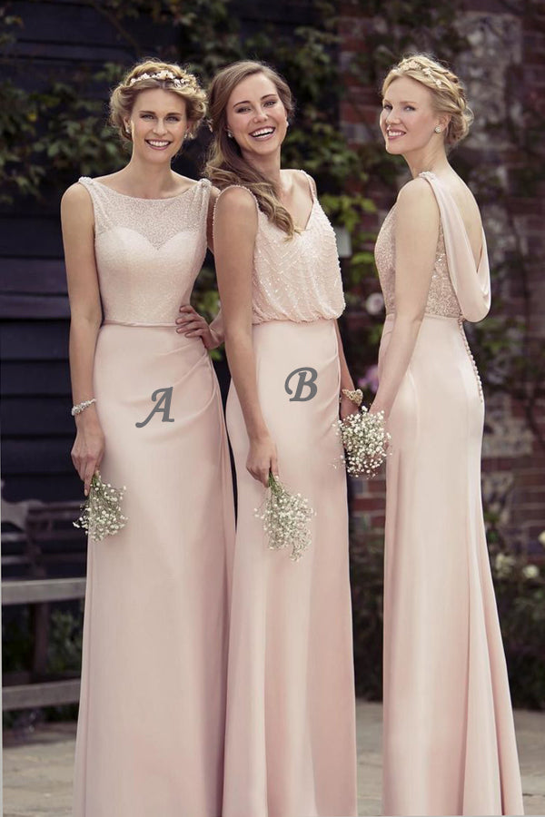 Pink Sheath Floor Length Sheer Neck Sleeveless Bridesmaid Dress, Wedding Party Dress