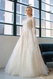Ivory A Line Court Train V Neck Long Sleeves Layers Appliques Wedding Dress,Cheap Wedding Dress