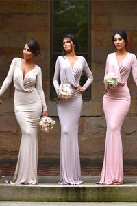 Sheath Sweep Train Deep V Neck Long Sleeve Cheap Bridesmaid Dress B294 - Ombreprom