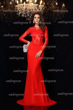Red Trumpet Sweep Train Long Sleeve Appliques Cheap Prom Dress,Party Dress