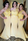 Yellow Trumpet One Shoulder Sweep Train Sleeveless Cheap Bridesmaid Dress