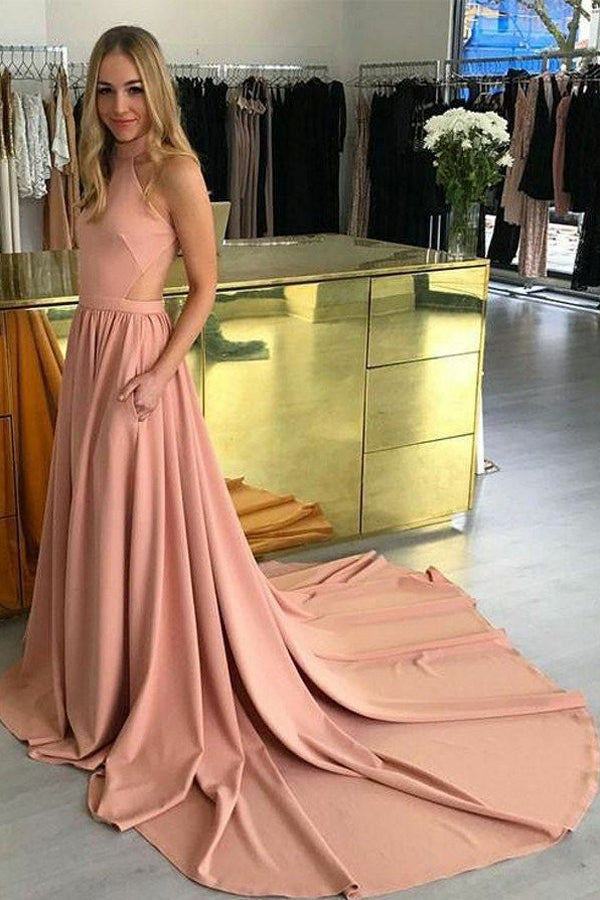 Barely Pink A Line Court Train Halter Sleeveless Sheer Back Prom Dress,Party Dress P336 - Ombreprom