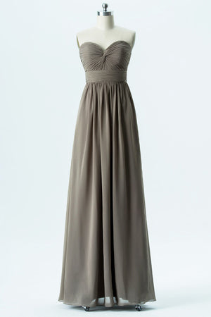Grey A Line Floor Length Sweetheart Strapless Mid Back Cheap Bridesmaid Dresses B144